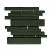Piano Glass Melody 9-1/2 in. x 10-1/2 in. Black Mesh-Mounted Mosaic Wall Tile (6.92 sq.ft./case)