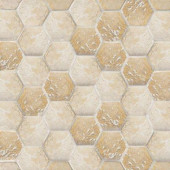 Gold Travertine Hex 12 in. x 12 in. x 8 mm Mosaic Wall Tile
