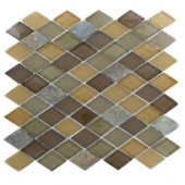 Tectonic Diamond Multicolor Slate and Earth Blend 12 in. x 12 in. x 8 mm Glass Mosaic Floor and Wall Tile