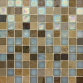 Edgewater Summerland 1 in. x 1 in. 11 3/4 in. x 11 3/4 in. Glass and Slate Wall & Floor Mosaic Tile-DISCONTINUED