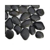 3D Pebble Rock Jet Black Stacked Marble Tile Sample