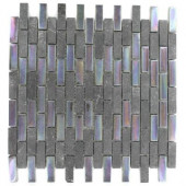 Tectonic Brick Black Slate And Rainbow Black 12 in. x 12 in. x 8 mm Glass Mosaic Floor and Wall Tile