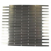 Metal Silver Stainless Steel Stick 12 in. x 12 in. x 8 mm Metal Mosaic Floor and Wall Tile