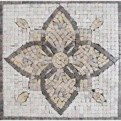 Floral Blend Medallion 12 in. x 12 in. Tumbled Marble Mesh Mounted Mosaic Tile