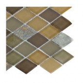 Tectonic Diamond Multicolor Slate and Earth Blend Glass Tiles 2 in. x 4 in. - 6 in. x 6 in.Tile Sample