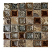 Roman Selection Charred Chestnut 1 in. x 1 in. Glass Tile Sample