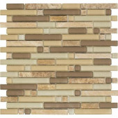 Varietals Sylvaner-1654 Stone And Glass Blend Mesh Mounted Floor and Wall Tile - 2 in. x 12 in. Tile Sample