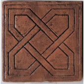 Saltillo Sealed Antique Red 8 in. x 8 in. Pinwheel Decorative Floor and Wall Tile-DISCONTINUED