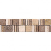 Mixed Travertine Border 3 in. x 12 in. Floor and Wall Tile