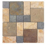 Block Medley 12 in. x 12 in. x 8 mm Slate/Travertine Mosaic Wall Tile