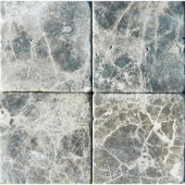 Emperador Dark 4 in. x 4 in. Tumbled Marble Floor and Wall Tile (1 sq. ft. / case)