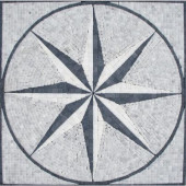Black & White Star Medallion 24 in. x 24 in. Tumbled Marble Mesh Mounted Mosaic Tile