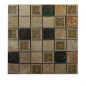 Roman Selection Side Saddle W Deco 1 in. x 1 in. Glass Tile - 6 in. x 6 in. Floor and Wall Tile Sample