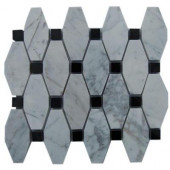 Artois Pattern White Carrera With Black Dot 12 in. x 12 in. x 8 mm Marble Mosaic Floor and Wall Tile