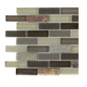 Tectonic Brick Multicolor Slate and Khaki Blend Glass Tiles - 6 in. x 6 in. Tile Sample