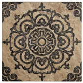 Saffron Etched Panel 12 in. x 12 in. x 10 mm Travertine Wall Tile