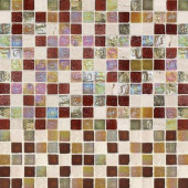 Harvest Noce 12 in. x 12 in. x 6 mm Glass Travertine Mosaic Wall Tile