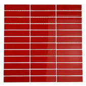 Contempo Lipstick Red Polished 12 in. x 12 in. x 8 mm Glass Mosaic Floor and Wall Tile