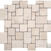 Ivory Mini Versaille Pattern 12 in. x 12 in. x 10 mm Tumbled Travertine Mesh-Mounted Mosaic Tile