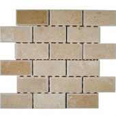 Crema Marfil Chamfered 12 in. x 12 in. x 8 mm Marble Mosaic Floor and Wall Tile