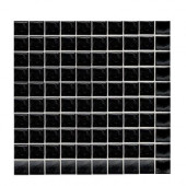 Sonterra Glass Black Opalized 12 in. x 12 in. x 6 mm Glass Sheet Mounted Mosaic Wall Tile-DISCONTINUED