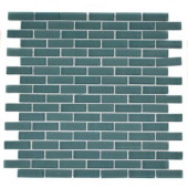 Contempo Turquoise Brick Pattern 12 in. x 12 in. x 8 mm Glass Mosaic Floor and Wall Tile