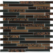 Spectrum Tropical Brown-1665 Granite And Glass Blend Mesh Mounted Floor and Wall Tile - 2 in. x 12 in. Tile Sample