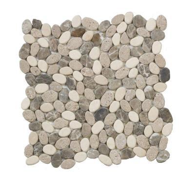 Emperador River Rocks 12 in. x 12 in. x 8 mm Marble Mosaic Floor/Wall Tile