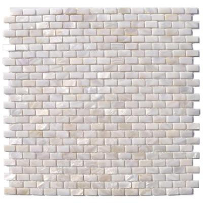Mother of Pearl Mini Brick Pattern 12 in. x 12 in. x 8 mm Mosaic Floor and Wall Tile