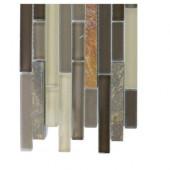 Tectonic Harmony Multicolor Slate and Khaki Blend Glass Tiles - 6 in. x 6 in. Tile Sample