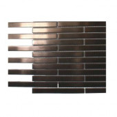 Metal Rouge Stainless Steel 1/2 in. x 4 in. Stick Brick Tiles - 6 in. x 6 in. x 8 mm Floor and Wall Tile Sample