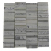 Piano-Keys Pattern Vintage Mayflower White 12 in. x 12 in. x 8 mm Marble Wall and Floor Tile