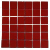Contempo Lipstick Red Frosted 12 in. x 12 in. x 8 mm Glass Tile
