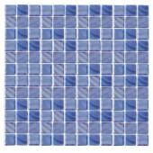 Irridecentz I-Blue-1414 Mosaic Recycled Glass 12 in. x 12 in. Mesh Mounted Tile (5 sq. ft.)