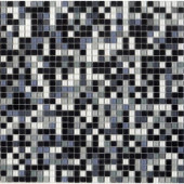 12.8 in. x 12.8 in. Venice Black Sky Mix Glossy Glass Tile-DISCONTINUED
