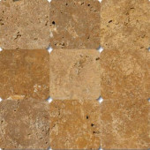 Versailles Gold 4 in. x 4 in. Tumbled Travertine Floor and Wall Tile (1 sq. ft. / case)-DISCONTINUED