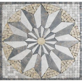Venti Blend Medallion 12 in. x 12 in. Tumbled Marble Mesh Mounted Mosaic Tile