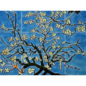 Van Gogh, Branches of an Almond Tree in Blossom Mural 18 in. x 24 in. Wall Tiles-DISCONTINUED