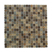 12 in. x 12 in. Toffee Slate Glass Mosaic Tile-DISCONTINUED