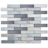 Sterling Silver 12 in. x 13.75 in. x 8 mm Glass Mosaic Wall Tile