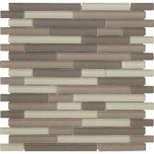 Color Blends Arena Neblina Matte Strips Mosaic Glass Mesh Mounted Tile - 4 in. x 4 in. Tile Sample-DISCONTINUED