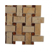 Basket Braid Jerusalem Gold and Wood Onyx Stone Mosaic Floor and Wall Tile - 6 in. x 6 in. Floor and Wall Tile Sample