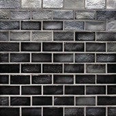 Edgewater Black Sand 1 in. x 2 in. 10-5/8 in. x 10-5/8 in. Glass Floor & Wall Mosaic Tile-DISCONTINUED