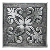 Massalia Pewter 4 in. x 4 in. Metal Frieze Wall Tile-DISCONTINUED