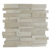 Dimension 3D Brick Crema Marfil Pattern 12 in. x 12 in.x 8 mm Mosaic Floor and Wall Tile