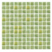 Spongez S-Green-1406 Mosaic Recycled Glass 12 in. x 12 in. Mesh Mounted Floor & Wall Tile (5 Sq. Ft./Case)-DISCONTINUED