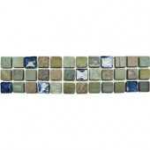 Mixed Slate/Metro Glass Listello 3 in. x 12 in. Floor and Wall Tile (1 in. ft. / piece)