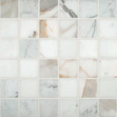 Calacatta Gold 12 in. x 12 in. x 10 mm Polished Marble Mesh-Mounted Mosaic Tile