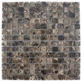 Dark Emperidor Squares 12 in. x 12 in.x 8 mm Marble Floor and Wall Tile