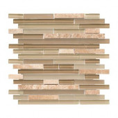 Country Winds Pencil 12 in. x 12 in. x 8 mm Glass Marble Mosaic Wall Tile